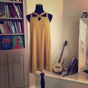 Baby Doll Dress in mustard.